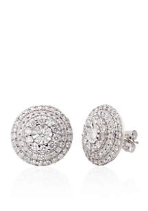 1.00 ct. t.w. Diamond Cluster Earrings in 10K White Gold