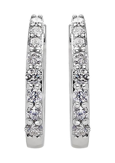 1/3 ct. t.w. Diamond Hoop Earrings in 10k White Gold