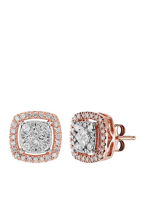 1/2 ct. t.w. Diamond Halo Stud Earrings in 10k Rose Gold