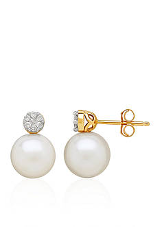 Belk & Co. Freshwater Pearl and Diamond Top Earrings in 10k Yellow Gold