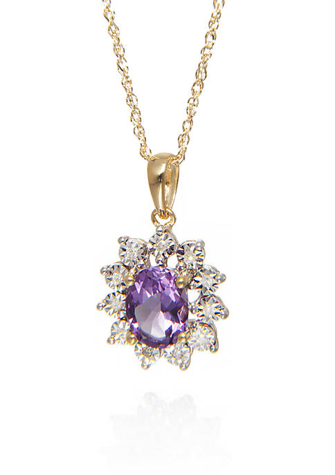 Belk & Co. Amythest and Diamond Pendant in