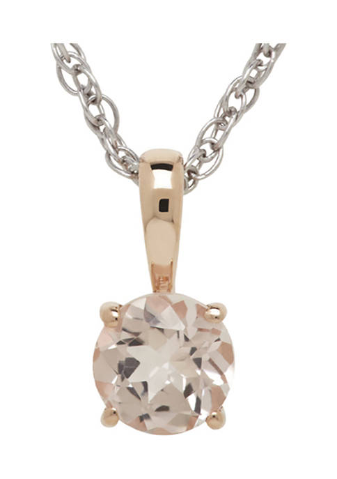 1/2 ct. t.w. Morganite Pendant Necklace in 10K Pink Gold