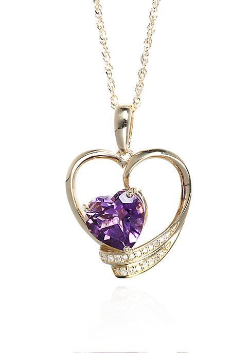 Belk & Co. Amethyst and Diamond Heart in
