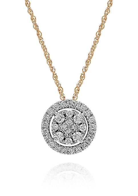 3/8 ct. t.w. Diamond Round Cluster Pendant in 10K Yellow Gold