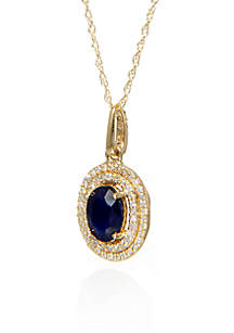 Sapphire and Diamond Pendant in 10K Yellow Gold