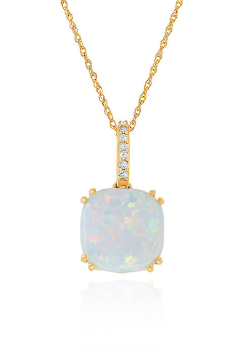 Belk & Co. Created Opal Pendant Necklace in