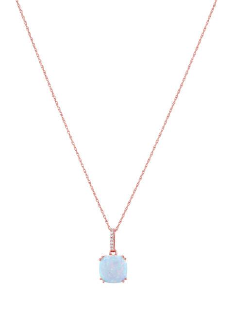 10 Karat Gold Created Opal Diamond Necklace