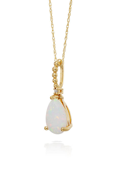 Belk & Co. Opal and Diamond Pendant Necklace