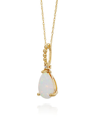 Belk Co Opal And Diamond Pendant Necklace In 10k Yellow Gold Belk