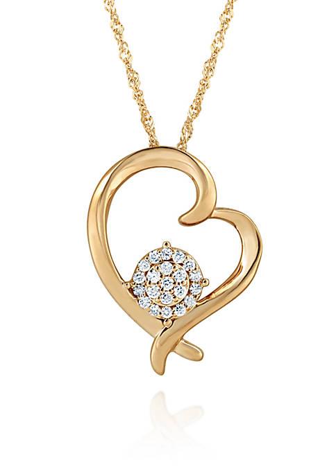 0.16 ct. t.w. Diamond Heart Cluster Pendant in 10K Yellow Gold