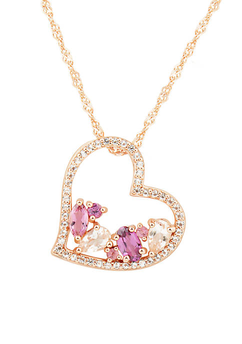 Belk & Co. Multi Stone Heart Pendant Necklace