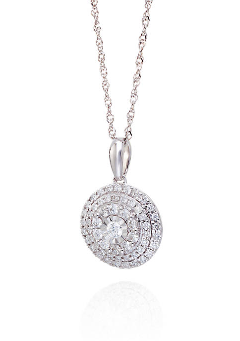 1/2 ct. t.w. Diamond Round Cluster Pendant Necklace in 10K White Gold