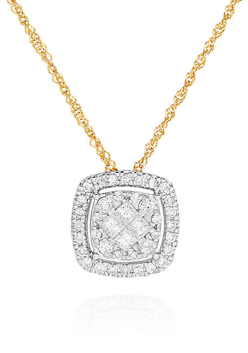 Belk & Co. Diamond Cluster Square Pendant in