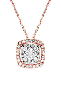 1/2 ct. t.w. Diamond Halo Pendant Necklace in 10k Rose Gold