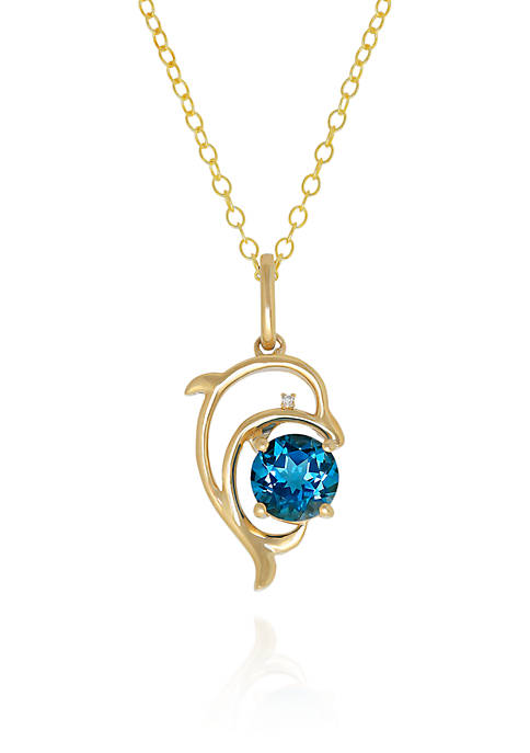 Belk & Co. Blue Topaz and Diamond Dolphin