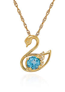 Blue Topaz and Diamond Swan Pendant Necklace in 10k Yellow Gold