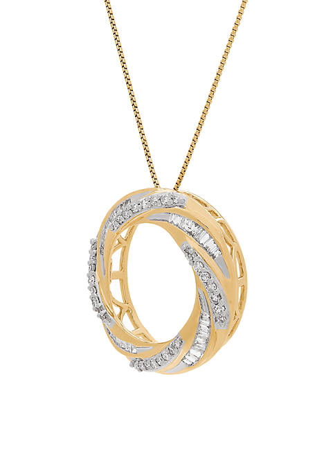 3/8 ct. t.w. Open Circle Pendant Necklace in 10k Yellow Gold