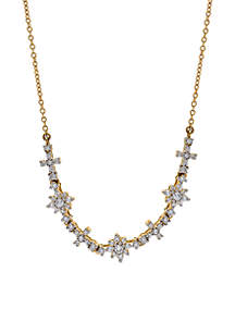 1/2 ct. t.w. Diamond Flower Necklace in 10K Yellow Gold