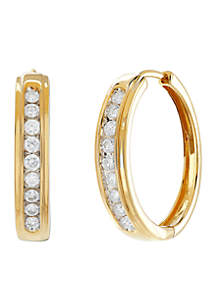 1/2 ct. t.w. Diamond Hoop Earrings in 10k Yellow Gold