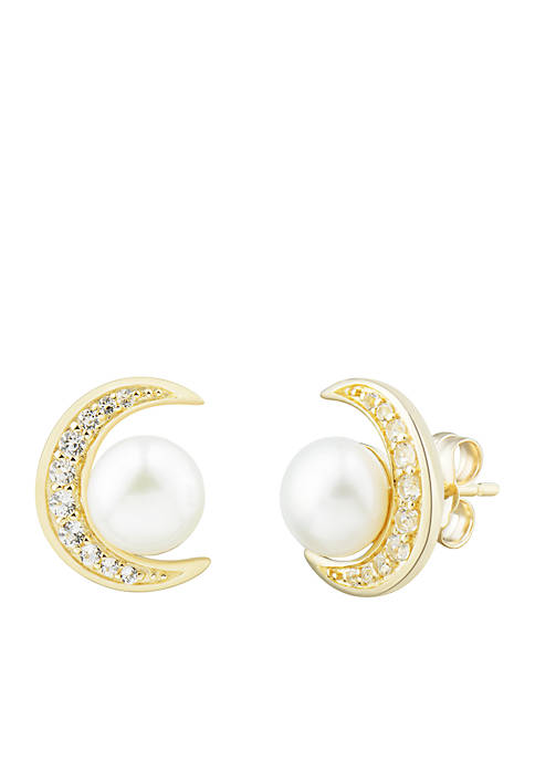 Freshwater Pearl and White Topaz Moon Earrings in 10k Yellow Gold