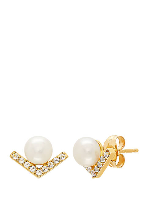 Freshwater Pearl and 1/6 ct. t.w. White Topaz Earrings in 10K Yellow Gold