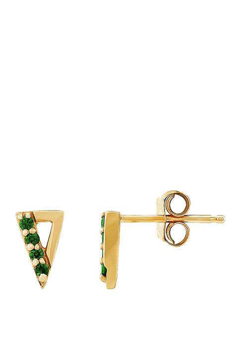 1/10 ct. t.w. Created Emerald Earrings 10K Yellow Gold