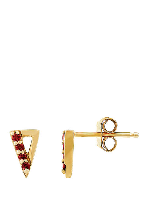 1/10 ct. t.w. Created Ruby Earrings 10K Yellow Gold