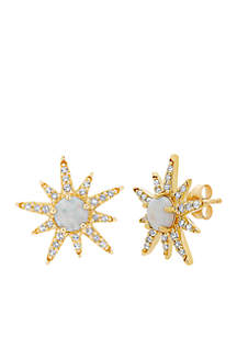 Created Opal and White Topaz Stud Earrings in 10k Yellow Gold