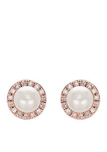 0.15 ct. t.w. Diamond and Freshwater Pearl Stud Earrings in 10k Rose Gold