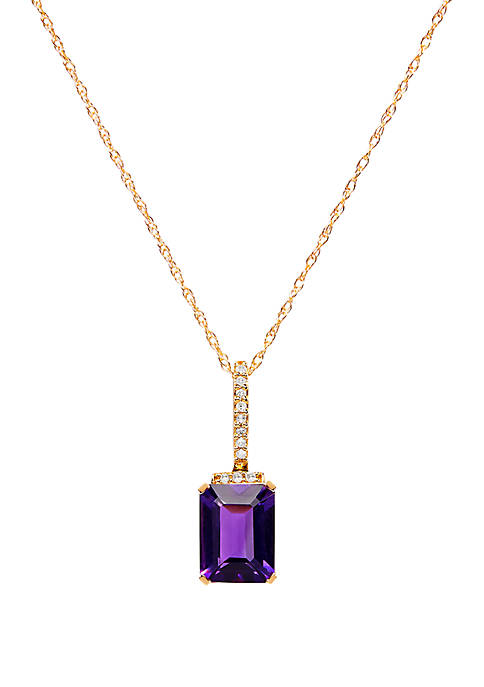 1.4 ct. t.w. Amethyst and 1/10 ct. t.w. Diamond Pendant Necklace in 10K Yellow Gold
