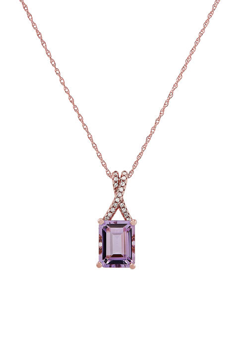 2.15 ct. t.w. Pink Amethyst and 0.051 ct. t.w. Diamond Rope Chain Pendant Necklace in 10K Rose Gold