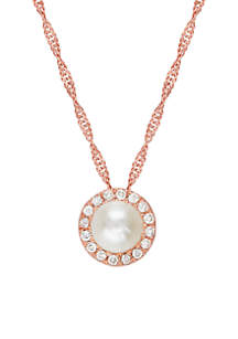 0.11 ct. t.w. Diamond Halo Pendant Necklace in 10k Rose Gold