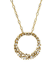 1/4 ct. t.w. Diamond Circle Pendant Necklace in 10K Yellow Gold
