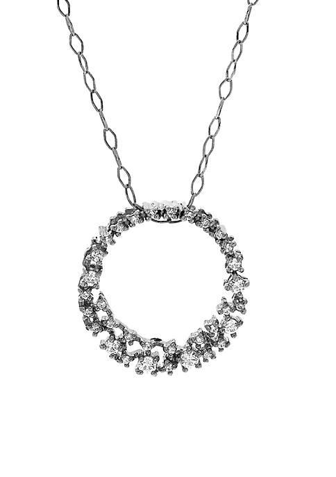 1/4 ct. t.w. Diamond Circle Pendant Necklace in 10K White Gold
