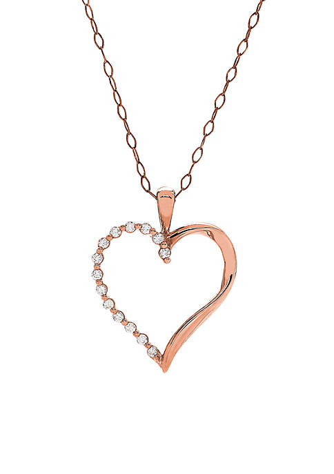 1/5 ct. t.w. Heart Pendant Necklace in 10K Rose Gold