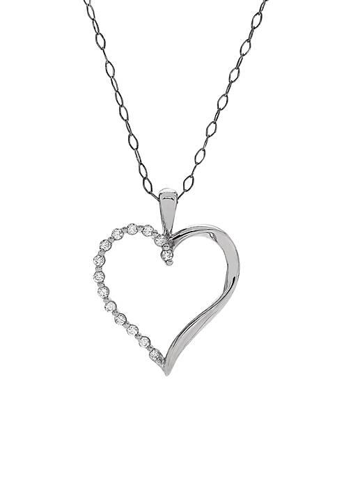 1/5 ct. t.w. Diamond Heart Pendant Necklace in 10k White Gold