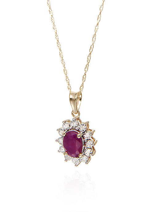 Belk & Co. Oval Ruby & Diamond Pendant