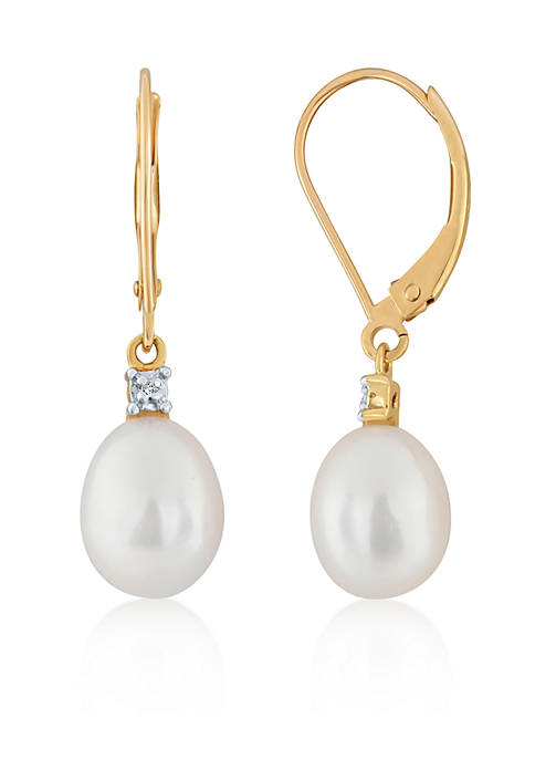 Belk & Co. Freshwater Pearl & Diamond Drop