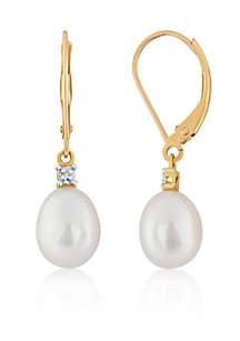 Freshwater Pearl & Diamond Drop Earrings in 10K Yellow Gold