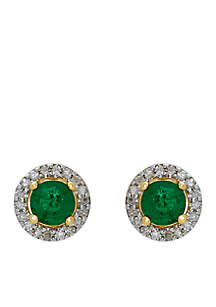 1/2 ct. t.w. Genuine Emerald and Diamond Earrings in 10K Yellow Gold