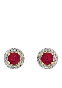 5/8 ct. t.w. Genuine Ruby and Diamond Stud Earrings in 10K Yellow Gold