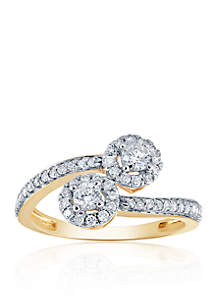 1/2 ct. t.w. Diamond By Pass Ring in 10K Yellow Gold