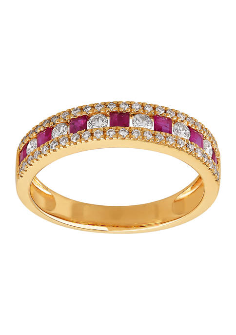 3/8 ct. t.w. Diamond and 3/8 ct. t.w. Ruby Ring in 10K Yellow Gold