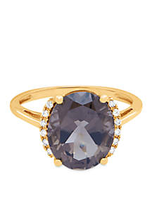 5 ct. t.w. Smokey Quartz And Diamond Oval Ring in 10K Yellow Gold