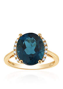 10k London Blue Topaz and Diamond Ring