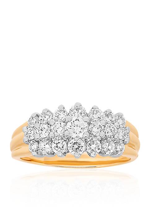 Diamond 3 Row Ring in 10K Yellow Gold