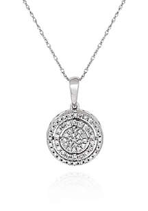 0.26 ct. t.w. Diamond Cluster Circle Pendant in 10K White Gold