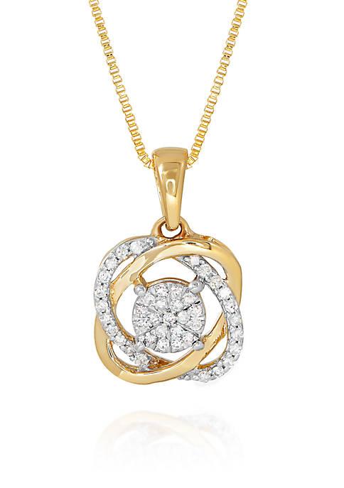 0.14 ct. t.w. Diamond Knot Pendant in 10K Yellow Gold