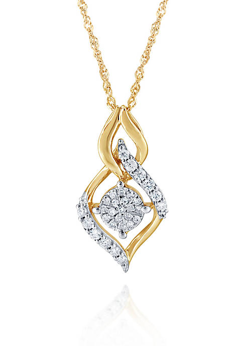 0.20 ct. t.w. Diamond Drop Cluster Pendant in 10K Yellow Gold