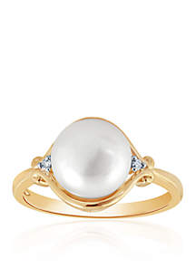 Freshwater Pearl and Diamond Ring in 10K Yellow Gold